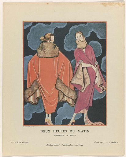 Gazette du Bon Ton. Art- Modes & Frivolités, 1923 – No 2: Deux heures du matin / Manteaux, the Worth.