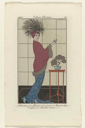 Journal des Dames et des Modes, 1912, Costumes Parisiens, no. 35: Manteau de Damas ros (…).