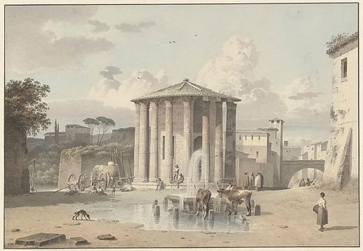 The small, round building is traditionally called the Temple of Vesta, incorrectly, as it turns out, for the god to which the temple was consecrated remains unknown. The fact that every detail is fully worked up suggests that the drawing was meant for sale. Still, it does not seem to be fully finished, for Knip would certainly have introduced some colourful accents in the clothing worn by the local folk loitering about. Origin: Italy. Date: c 1809 – c 1812. Object ID: RP-T-2014-14-33.