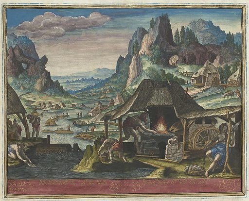 Tubal-Cain in his forge. Origin: Antwerp. Date: 1583. Object ID: RP-P-2005-214-9-2.