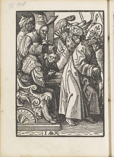 Pilate washes his hands innocently. Origin: Amsterdam. Date: 1523. Object ID: BI-1894-3729-36.