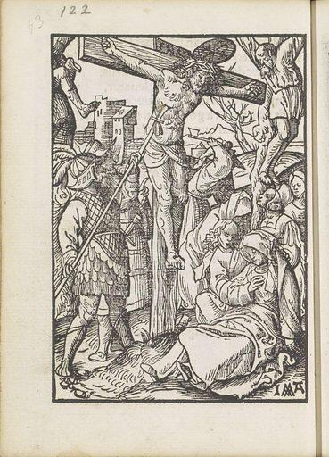 Pierced Christ on the cross with a lance. Origin: Amsterdam. Date: 1523. Object ID: BI-1894-3729-43.