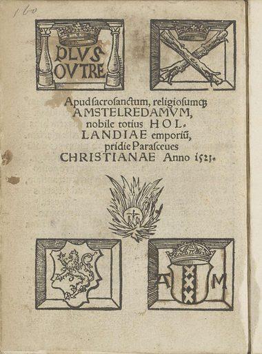 Coats of arms of Amsterdam. Origin: Amsterdam. Date: 1523. Object ID: BI-1894-3729-58.