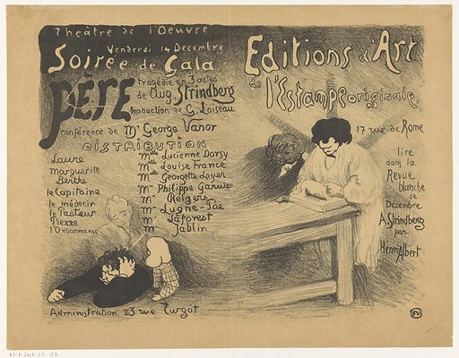 Program for a gala performance of Le Père, a tragedy by August Strindberg in the Theater de l'Oeuvre. Date: in or before 1894. Object ID: RP-P-2015-26-187.