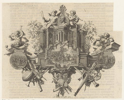 Allegorical performance about music around the portrait of Tubal-Cain. Origin: Amsterdam. Date: 1724. Object ID: RP-P-1950-845-171.