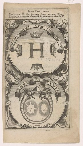 Initial H with four crowns / Double cornucopia with sun and moon. Date: 1666. Object ID: RP-P-2016-1042-384.