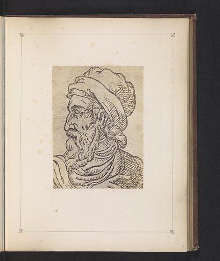 Photo reproduction of a print, depicting a portrait of Johannes Gutenberg