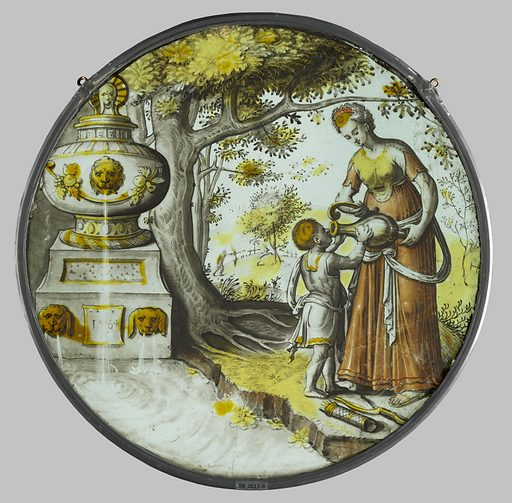 Hagar gives Ishmael a drink. Origin: Northern Netherlands. Date: 1564. Object ID: BK-2017-9.