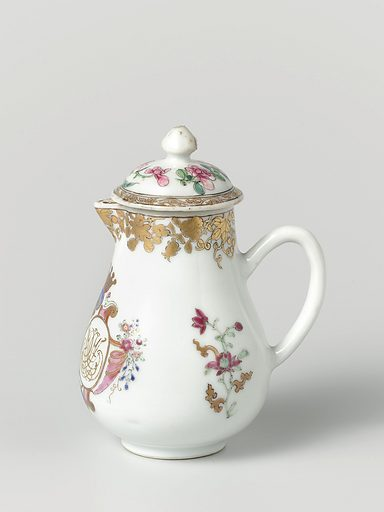 Pear-shaped milk jug with handle from the 'Swellengrebel service' with a double crowned monogram and a border with floral scrolls. Origin: China. Date: c 1740. Object ID: AK-RAK-2005-1-3-2.