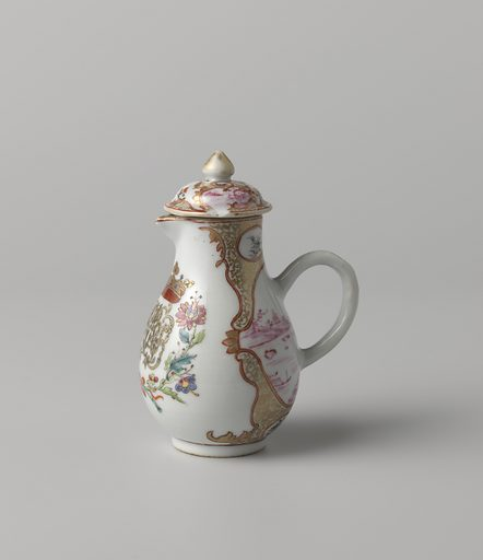 Pear-shaped milk jug with a crowned, illegible monogram surrounded by two flower sprays. Origin: China. Date: c 1750 – c 1774. Object ID: AK-VBR-545-5-1.