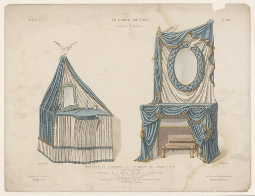 Dressing table and fireplace with drapes. Origin: Paris. Date: c 1885 – c 1895. Object ID: RP-P-2017-7561.
