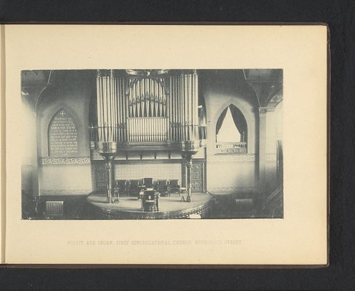 Interior of the Pawtucket Congregational Church at Lowell. Date: c 1887 – in or before 1892. Object ID: RP-F-2001-7-990-4.