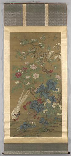 This painting features a pair of silver pheasants scratching around a garden, while songbirds flit between rocks and a profusion of spring flowers: magnolia, crab-apple blossoms, peonies, roses, and orchids, as well as lingzhi mushrooms. Overall the painting conveys an auspicious message of everlasting prosperity. The painting's monumental scale suggests it was made to create a compelling and pleasing visual effect. Origin: China. Date: c 1500. Object ID: AK-MAK-1744.