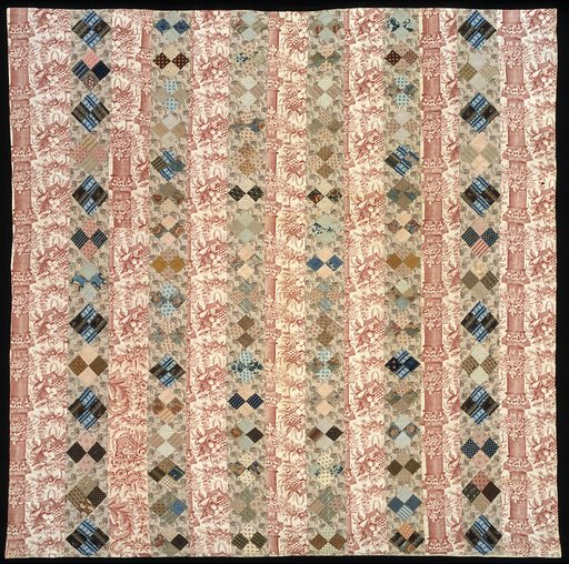 Pieced Quilt (Strips with Four Patch on Point). Date: 1820s. Record ID: saam_1998.149.13.