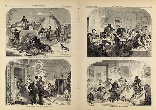 Thanksgiving Day--Ways and Means/Arrival at the Old Home/The Dinner/The Dance, from Harper's Weekly, November 27, 1858. Date: 1850s. Record ID: saam_1996.63.105.