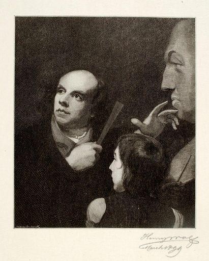 John Flaxman Modeling the Bust of William Hayley. Sitter: John Flaxman. Date: 1890s. Record ID: saam_1973.130.166.