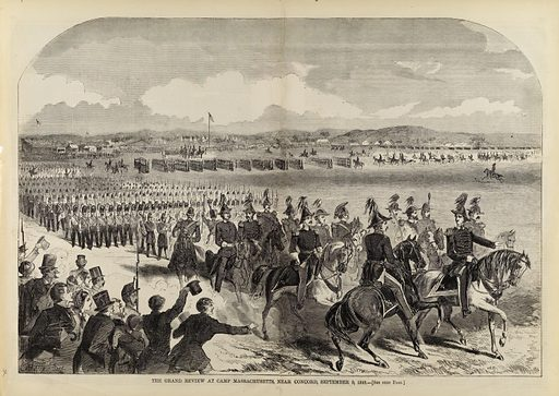 The Grand Review at Camp Massachusetts, Near Concord, September 9, 1859, from Harper's Weekly, September 24, 1859. Date: 1850s. Record ID: saam_1996.63.106.