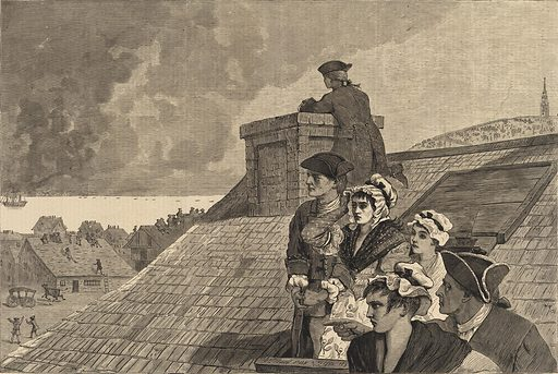 The Battle of Bunker Hill--Watching the Fight from Cobb's Hill in Boston, from Harper's Weekly, June 26, 1875. Date: 1870s. Record ID: saam_1996.63.103.