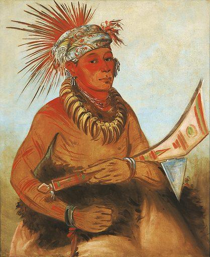 Pah-ta-cóo-chee, Shooting Cedar, a Brave. Sitter: Shooting Cedar. Date: 1830s. Record ID: saam_1985.66.257.