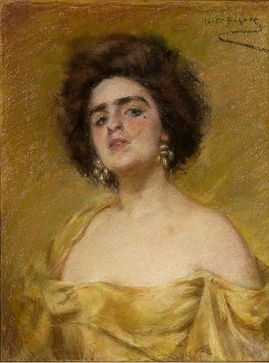Laura In Yellow. Sitter: Laura Dreyfus Barney. Date: 1900s. Record ID: saam_1939.11.2.