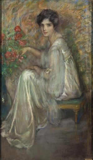 Young Woman with Roses. Sitter: Gwendolyn Ffoulke. Date: 1920s. Record ID: saam_1951.14.117.