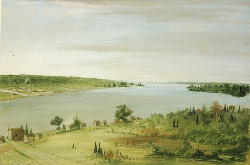Sault Ste. Marie, Showing the United States Garrison in the Distance. Date: 1830s. Record ID: saam_1985.66.339.