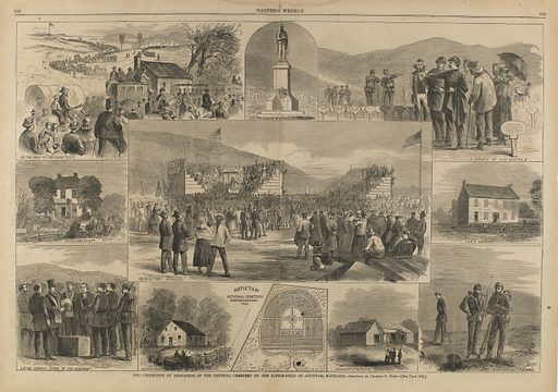 The Ceremonies of Dedication of the National Cemetery on the Battlefield of Antietam, MD, from Harper's Weekly, October 5, 1867. Date: 1880s. Record ID: saam_1972.85.5.