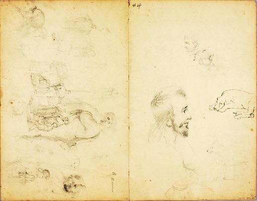 (Studies--Christ preaching, man with spear, etc.). Date: 1850s. Record ID: saam_1973.183.4B.