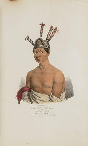 WAA-KAUN-SEE-KAA or the Rattle Snake; A Winnebago Chief, from The Aboriginal Portfolio. Date: 1830s. Record ID: saam_1973.167.51.