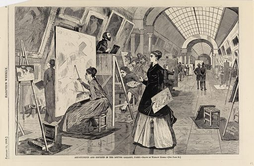 Art-students and Copyists in the Louvre Gallery, Paris, from Harper's Weekly, January 11, 1868. Date: 1860s. Record ID: saam_1996.63.64.
