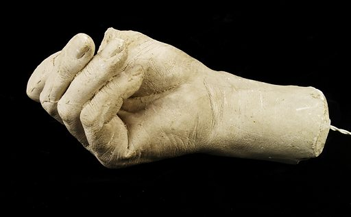 Cast of Hiram Powers's Right Hand, with Fingers Turned Under (thumb missing). Date: 1850s. Record ID: saam_1968.155.151A-B.
