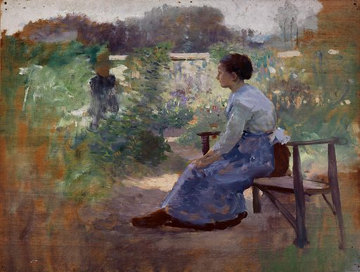 Woman Seated in a Garden. Date: 1910s. Record ID: saam_1916.6.46.
