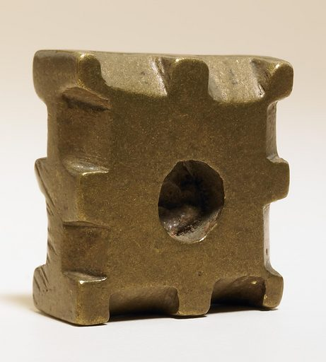 Cast copper alloy square geometric weight with a central circular cut out and beveled notched edges. Date: 1720s. Record ID: nmafa_96-42-1.2.