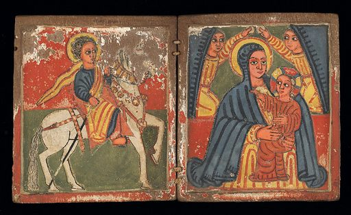 Two panel painting, distemper on gesso on wood. The left panel depicts a saint on a white horse on a red and green background. The right panel depicts Mary in a blue robe holding the Christ child in a red robe, flanked by angels with blue wings. The angels hold small disks. There is paint loss in the area of the horse's head. Fragments of green and red distemper on gesso remain on the exterior of the panels. Date: 1620s. Record ID: nmafa_2003-6-1.