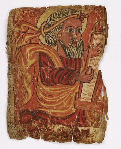 Painting on vellum of a man playing an Ethiopian box lute, in a 3/4 pose, wearing a red robe. The headtie and cloak are orange with yellow folds. The hair and beard are white with black lines and he is wearing a rod earring. Date: 1400s. Record ID: nmafa_2004-7-7.