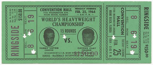 Green narrow ticket for the World Heavyweight Championship of Sonny Liston versus Cassius Clay (Muhammad Ali). Ticket is divided two thirds of the way from the left by a large rectangle box featuring two (2) black and white portraits of the boxers. There are seven (7) punched holes throughout the ticket. Five (5) of the punched holes are cross shaped while the other two (2) are crown shaped. Most of the ticket is in black ink with the seat section, number, and ticket price in red ink. On the back of the ticket is a legal statement about the ticket stating that the ticket is good only for the date listed with no refunds available. Record ID: nmaahc_2012.173.2.2.