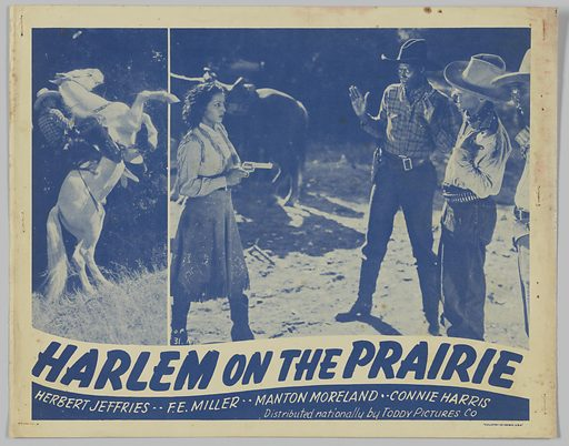 Lobby card for Harlem on the Prairie. Date: 1940s. Record ID: nmaahc_2013.118.111.3.