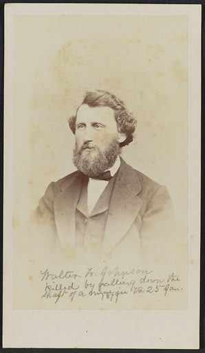Carte-de-visite of Walter W Johnson shown in half portrait. Johnson is turned one quarter to his right and looks off camera. His hair is moderately long and wavy and he has a full beard and mustache. His cheeks are tinted pink. He wears a dark jacket with wide notched lapels, a dark vest, a white shirt, and a dark bowtie. The bottom portion of the image is purposefully faded in the popular style of the time. Date: 1860s. Record ID: nmaahc_2017.30.6.