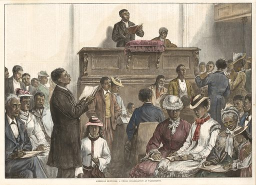 """A print captioned """"American Sketches: A Negro Congregation at Washington."""" The print has been hand coloured. The image depicts a man behind an elevated pulpit. He is reading a book. Another man sits beside him on the pulpit. Men in women dressed formally are standing and sitting in front of them. A man on the left side of the image is standing and also holding a book. He appears to be singing. The caption appears underneath the image. The image is in a wooden frame. Date: 1870s. Record ID: nmaahc_2013.239.7."""