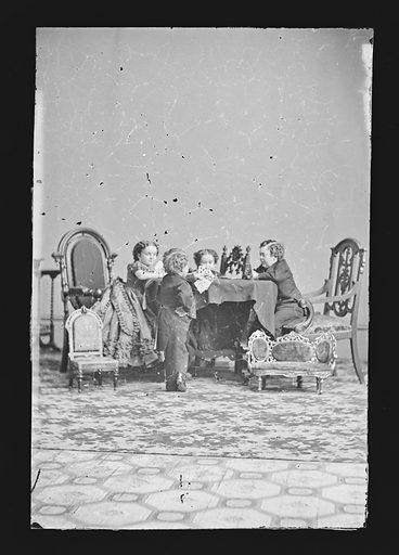 Strattons, G.W.M Nutt, and Minnie Warren. Sitters: Charles Sherwood Stratton, 4 Jan 1838 – 15 Jul 1883; Lavinia Warren Stratton, 31 Oct 1841 – 25 Nov 1919; George Washington Morrison Nutt, 01 Apr 1848 – 25 May 1881; Minnie Warren, 1842 – 1878. Date: 1860s. Record ID: npg_NPG.81.M1706.