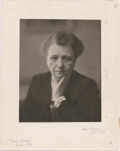 Frances Perkins. Sitter: Frances Perkins, 10 Apr 1880 – 14 May 1965. Date: 1950s. Record ID: npg_NPG.82.190.