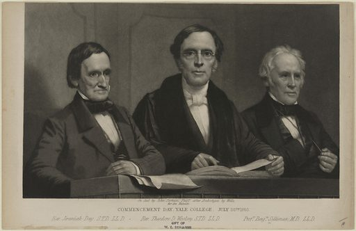 Commencement Day, Yale College. Sitters: Jeremiah Day, 1773 – 1867; Theodore Dwight Woolsey, 1801 – 1889; Benjamin Silliman, 8 Aug 1779 – 24 Nov 1864. Date: 1860s. Record ID: npg_NPG.86.41.