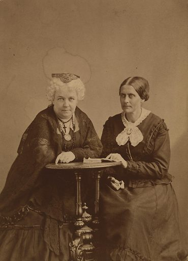 Elizabeth Cady Stanton and Susan B. Anthony. Sitters: Elizabeth Cady Stanton, 12 Nov 1815 – 26 Oct 1902; Susan Brownell Anthony, 15 Feb 1820 – 13 Mar 1906. Date: 1860s. Record ID: npg_S_NPG.77.48.