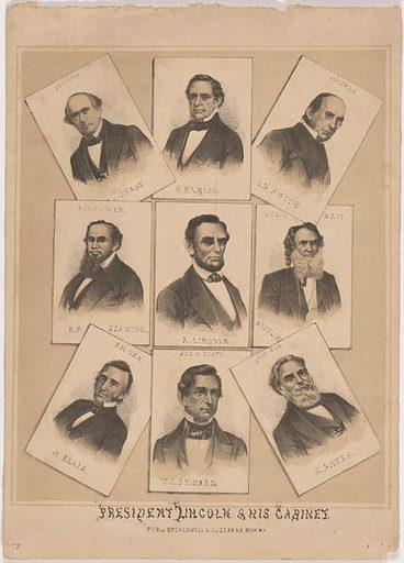 President Lincoln and his Cabinet. Sitters: Hannibal Hamlin, 27 Aug 1809 – 4 Jul 1891; Caleb Blood Smith, 16 Apr 1808 – 7 Jan 1864; Gideon Welles, 1 Jul 1802 – 11 Feb 1878; Edward Bates, 4 Sep 1793 – 25 Mar 1869; William Henry Seward, 16 May 1801 – 15 Oct 1872; Montgomery Blair, 10 May 1813 – 27 Jul 1883; Edwin McMasters Stanton, 19 Dec 1814 – 24 Dec 1869; Salmon Portland Chase, 13 Jan 1808 – 7 May 1873. Date: 1860s. Record ID: npg_NPG.87.251.