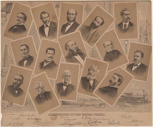 Millionaires of the U.S. Sitters: Samuel Jones Tilden, 9 Feb 1814 – 4 Aug 1886; Leland Standford, 1824 – 1893; Darius Ogden Mills, 5 Sep 1825 – 3 Jan 1910; Jay Gould, 27 May 1836 – 2 Dec 1892; John William MacKay, 28 Nov 1831 – 20 Jul 1902; Russell Sage, 4 Aug 1816 – 22 Jul 1906; William Waldorf Astor, 31 Mar 1848 – 18 Oct 1919; Cornelius Vanderbilt, 27 May 1794 – 4 Jan 1877; August Belmont, 8 Dec 1816 – 24 Nov 1890; James Clair Flood, 1825 – 1888; George Ingraham Seney, 1826 – 1893; William Wilson Corcoran, 27 Dec 1798 – 24 Feb 1888; Sidney Dillon, 7 May 1812 – 9 Jun 1892; Cyrus West Field, 30 Nov 1819 – 12 Jul 1892. Date: 1880s. Record ID: npg_NPG.85.54.