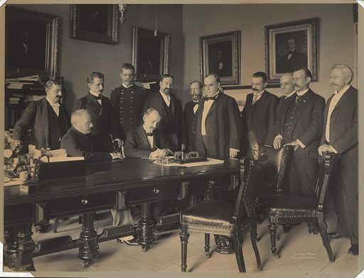 Signing of the Peace Protocol. Sitters: William McKinley, 29 Jan 1843 – 14 Sep 1901; Jules Martin Cambon, 1845 – 1935. Date: 1880s. Record ID: npg_NPG.94.21.