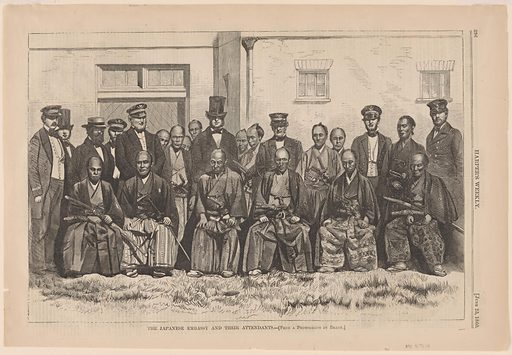 The Japanese Embassy and their Attendants. Date: 1860s. Record ID: npg_S_NPG.75.13.
