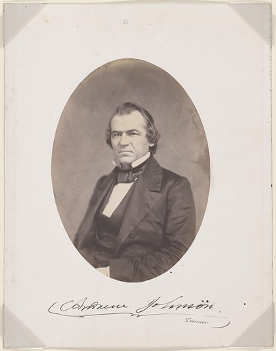 Andrew Johnson. Sitter: Andrew Johnson, 29 Dec 1808 – 31 Jul 1875. Date: 1850s. Record ID: npg_NPG.87.42.33.