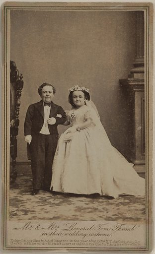 "Mr. and Mrs. ""General Tom Thumb"" in their Wedding Costume. Sitters: Charles Sherwood Stratton, 4 Jan 1838 – 15 Jul 1883; Lavinia Warren Stratton, 31 Oct 1841 – 25 Nov 1919. Date: 1860s. Record ID: npg_NPG.97.9."