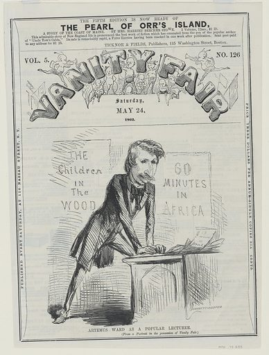 Charles Farrar Browne. Sitter: Charles Farrar Browne, 26 Apr 1834 – 6 Mar 1867. Date: 1860s. Record ID: npg_NPG.78.233.
